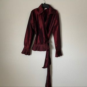 Katherine Barclay Burgundy Wrap Top Size Medium